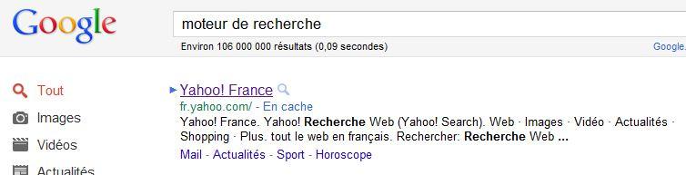 moteur de recherche dans Google