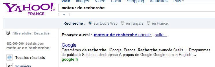 Moteur de recherche dans Yahoo