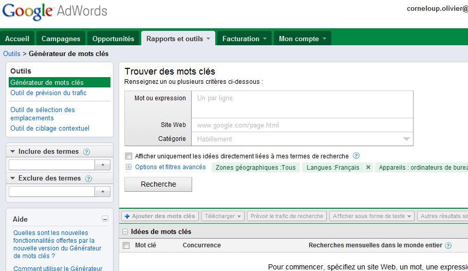nouvelle version générateur de mots clés Google août 2011