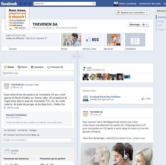 Nouvelle page entreprise Facebook mars 2012