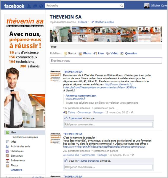 Page Facebook entreprise actuelle